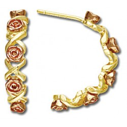 BH Gold Semi Hoop Roses Earring Set GL01566