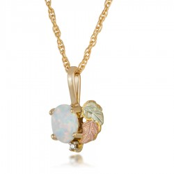 Black Hills Gold Opal with Diamond Pendant Necklace GL03308