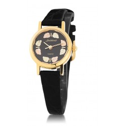 Women's Black Face Watch with Leather Band and BH Gold Leaves GL09250