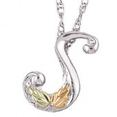 A - Z Black Hills Gold Leaves on on Sterling Silver Initial