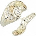 MR409EWCZ Women's BHG on Silver Engagement and Wedding Ring Set