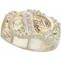 Men's BH Gold on Silver Ring w/ Cubic Zirconia MR46CZ