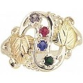 MR900-GN Women's Sterling Silver Mother's Ring w/ BHG Leaves & Genuine Stones