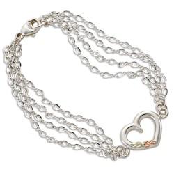 BH Gold on Silver 4-Chain Heart Bracelet MRLBR509