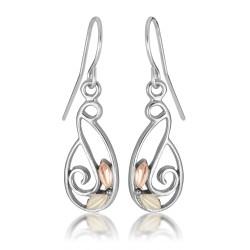 BH Gold on Silver Sweeping Vine Dangle Earring Set MRLER1915