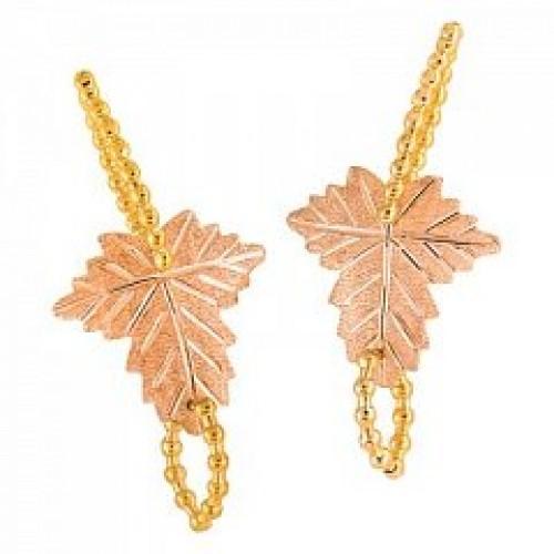 Black Hills Gold Leaf Dangle Earrings Vg30129