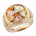 Men's BH Gold Bountiful Leaves Round Ring - GLC244