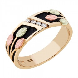 BH Gold Antiqued Unisex Ring with Diamonds - GL02764X