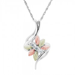 BH Gold on Silver Six Leaf Cubic Zirconia Pendant Necklace  -MRLPE30564101