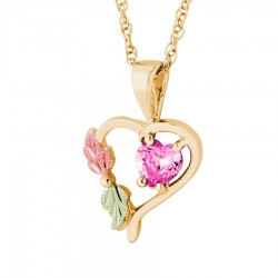 BH Gold Synthetic Gemstone Heart Pendant - 10 October - GLPE1045-310