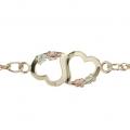 BH Gold Dual Hearts Ankle Bracelet 8019-AK