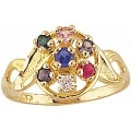Women's Black Hills Gold Mother's Ring with Genuine Stones FR9-GN