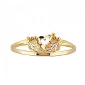 Women's Black Hills Gold Ring with Dainty Heart G1259