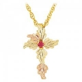 Black Hills Gold Cross with Rose and Ruby G2156R