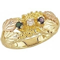 Women's Black Hills Gold Mother's Ring w/ Genuine Stones G902-GN