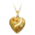 BH Gold-Filled Heart Locket with Roses Pendant Necklace GL03315