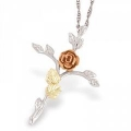 Sterling Cross Pendant with Rose MR2409