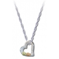 Gold on Silver Heart Pendant Necklace MRL03013