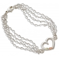 BH Gold on Silver 4-Chain Heart Bracelet MRLBR509