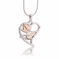 Sterling Silver Polished Leaves in Heart Pendant VM20229PL